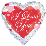 "18"" I Love You Script Heart Foil Balloon"